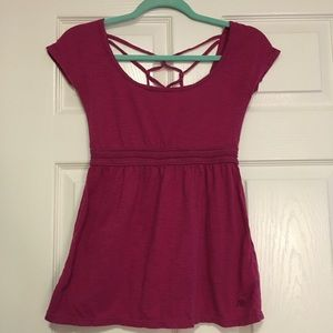 Aeropostale burgundy short sleeve top lattice back